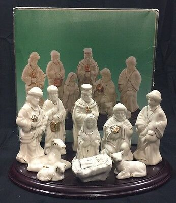 Small Nativity Set 10 Pieces Including Wood Base White Porcelain Detailed