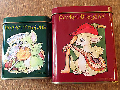 Rare Whimsical World Of Pocket Dragons by Real Musgrave * 2 Tins * Canisters NEW