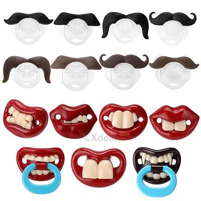 Baby Funny Dummy Silicone Prank Mustache Pacifier Teeth Children Soother Nipple