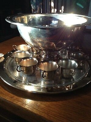 Oneida Silver Plate Large Punch Bowl with 11 Cups Plus Large Plate