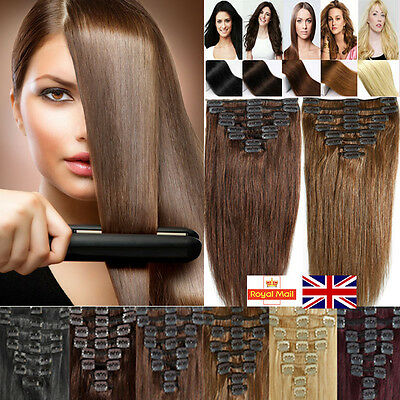 Classical 100% Real Clip In Remy Human Hair Extensions Full Head CLEARANCE K249