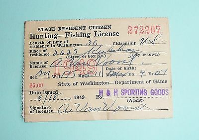 1949 Washinton St. Hunting & Fishing License With Signed Duck Stamp
