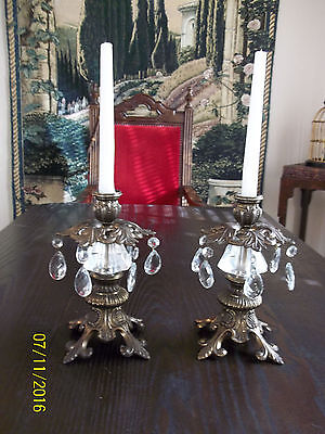 A Pair of Striking Bronze Candle holders with Crystals~Nice Details
