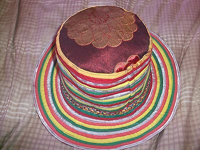 Womens Ladies Girls Unique Party Hat -  Colourful Hippy Rainbow Flat Top Design.
