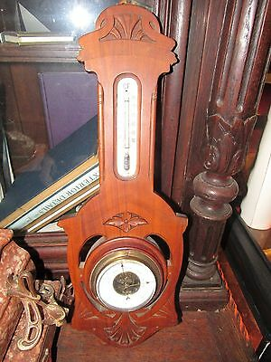 Antique Carved Walnut Barometer And Thermometer