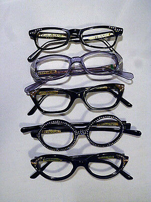 Lot of 5 Assorted Ladies Jeweled Eyeglass Frames New Old Stock at a Great Price