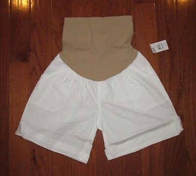Oh Baby Motherhood Maternity White Cotton Shorts Secret Fit Stretch Belly Medium