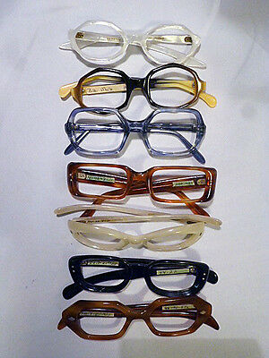 Lot of 7 Assorted Ladies Plastic Eyeglass Frames New Old Stock at a Great Price