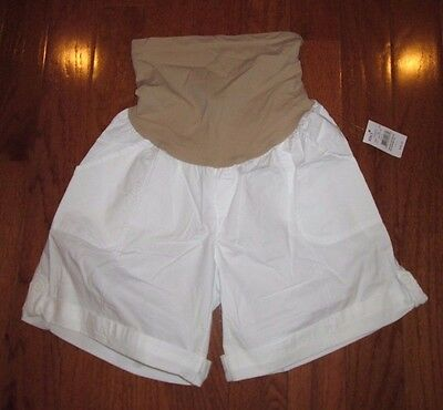 Oh Baby Motherhood Maternity White Cotton Shorts Secret Fit Stretch Belly Large