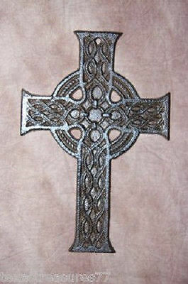 (1)pc, CELTIC CROSS, GAELIC, IRON AGE, MEDIEVAL, CAST IRON, CROSS DECOR #31