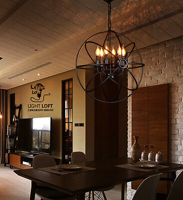 Orb Vintage Industrial Chandelier Wrought Iron Candle Cage Ceiling Pendant Light