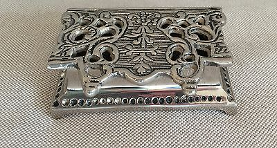 Vintage Antique Solid Sterling Silver Pierced Lid Jewelry Box HEAVY 260 Grams !!
