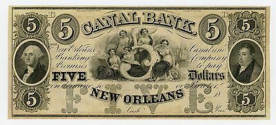 1800's $5 The Canal Bank - New Orleans, LOUISIANA Note CU