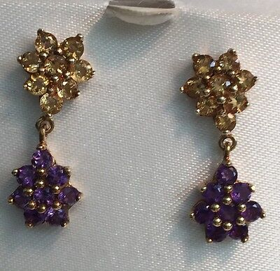 Amethyst and Citrine 10K Yellow Gold Dangle Earrings