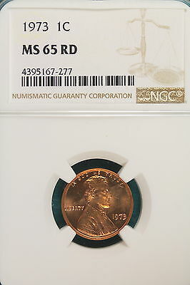 1973 Ngc Ms65 Red Lincoln Cent!!!! #A7129