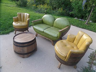 RARE Vintage Whiskey Wine Barrel Furniture Retro Parlor Set 1960's Bar Man Cave