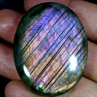 151.45Cts 100% NATURAL PURPLE FLASHING LABRADORITE OVAL CABOCHON LARGE GEMSTONES