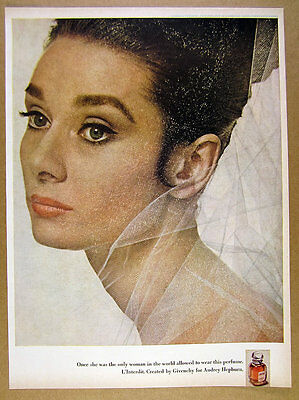 1968 Audrey Hepburn photo L'Interdit perfume by Givenchy vintage print Ad