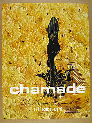 1970 Guerlain Chamade Perfume bottle flowers photo vintage print Ad
