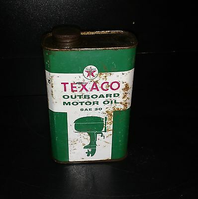 Texaco Outboard Motor Oil SAE30 Oil Can Dated 1961