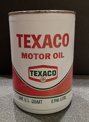 Texaco Motor Oil Plastic Vinyl Oil Can Metal Lid Rare 1968 SAE10W HD 6