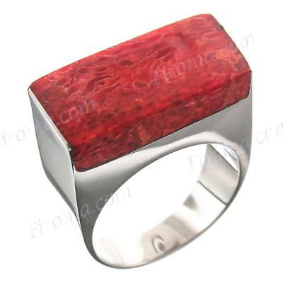 GENUINE SQUARE RED CORAL 925 STERLING SILVER 8 ring