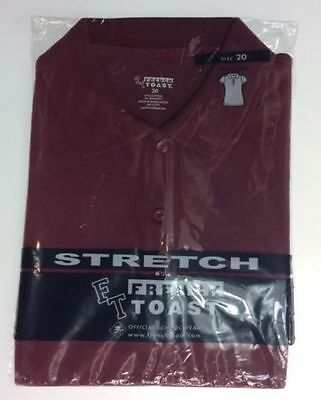 French Toast School Uniform Girls Pique Polo Burgundy Short Sleeve Shirt Size 20