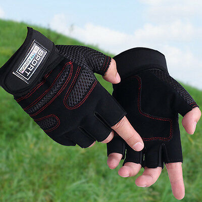 Men Weight lifting Gym Gloves Training Fitness Workout Wrist Wrap Sport Exercise