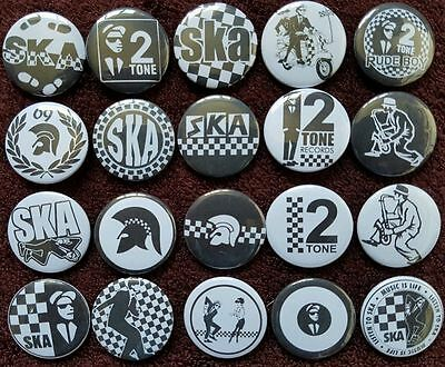 Ska 2 Tone Skinhead Button Badges x 20.  Pins. Collector. Wholesale. Bargain.:0)