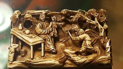 OLD Signed Chinese Carved Nativity Scene on Silver base