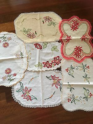 Festive Lot of 6 Vintage Linen Embroidered Centrepiece Doilies Xmas Craft Or Use
