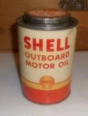 Vintage Shell Outboard Motor Oil Metal Tin Can Round 1 Qt Gas/Marine Nice!