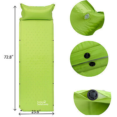 Camp Solutions Lightweight Self-Inflating Air Sleeping Pad Green