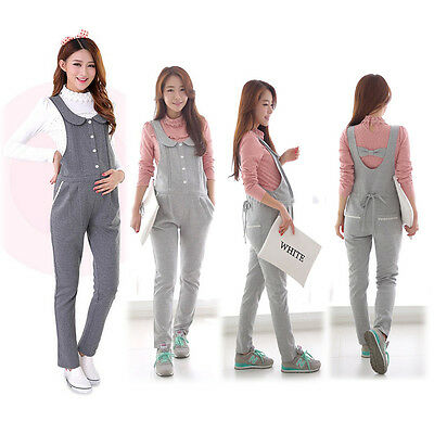 Maternity Overalls Pants Pregnancy Jumpsuits Trousers Cute Comfy Gray M/L/XL/2XL