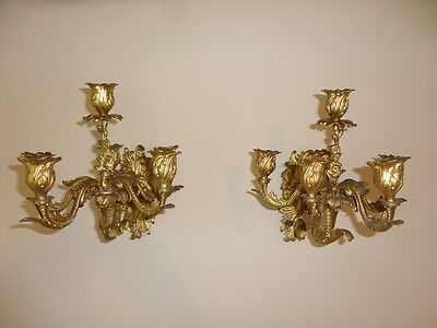 Pair of antique French bronze gilt sconces - 6 light arms ea. Stunning!