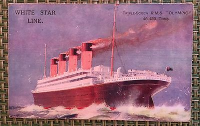 RMS OLYMPIC Cruise Liner Triple Screw White Star Line Not Used Postcard