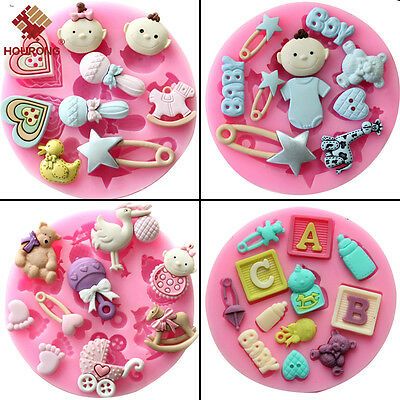 Silicone Baby Shower Party Fondant Cake Chocolate Mold Mould Suger Baking Tool
