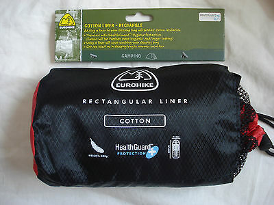 Eurohike Rectangular Cotton Sleeping Bag Liner, Health Guard, Camping