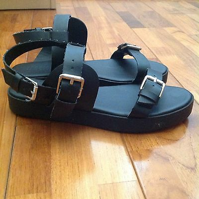 Women's Mooloola Black Size 6 Platform Buckle Strap Sandals Shoes Flats