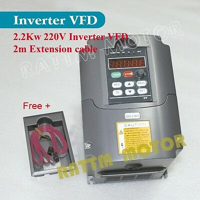 【US Stock】 2.2KW Inverter VFD 220V 3HP HY CNC VSD 10A Variable Frequency Drive