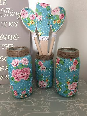 Set Of Shabby Chic decorative Decoupaged Upcycled Jars And Kitchen Utensils