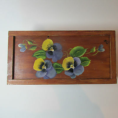 Vintage Hand Made and Hand Painted Decorative Storage Box with Sliding Lid