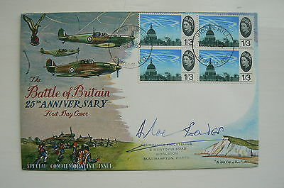 1965 BATTLE OF BRITAIN COVER SIGNED DOUGLAS BADER (BLK. OF 4 1/3d STAMPS , RARE)