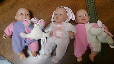 3x Berenguer MINI BABY DOLLS with SOFT Plush TOYS Lot