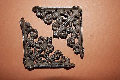 "(4)pcs SMALL CURIO SHELF BRACKETS, 4"" SHELF BRACKETS, CAST IRON, VICTORIAN, B-27"