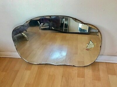 Very Large Vintage Art Deco Bevelled Frameless Etched  Wall Mirror