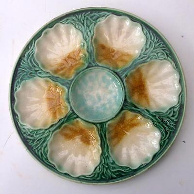 Rare Salins French Majolica Art Nouveau Oyster Seafood Plate !