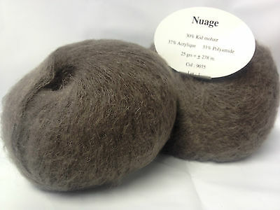 lot 10 pelotes laine KID MOHAIR / 9075 taupe  / FRANCE