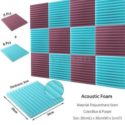 """2x12x12"""" (12 Pk) Blue/Charcoal Soundproofing Acoustic Wedge Foam Tile Wall Panel"""