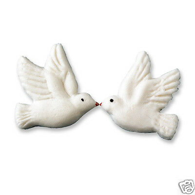 6 Edible Iced Sugar White Doves Cake Decorations - Christening Confirmation